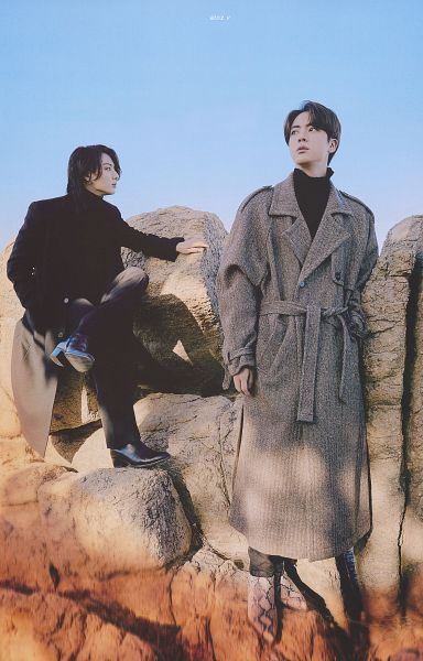 Tags: K-Pop, BTS, Jungkook, Jin, Collar (Clothes), Rocks, Two Males, Brown Outerwear, Turtleneck, Black Pants, Serious, Duo
