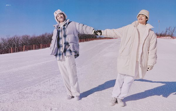 Tags: K-Pop, BTS, V (Kim Taehyung), Rap Monster, Holding Hands, White Jacket, Fur Trim, Snow, Gray Jacket, Duo, White Outerwear, Gloves