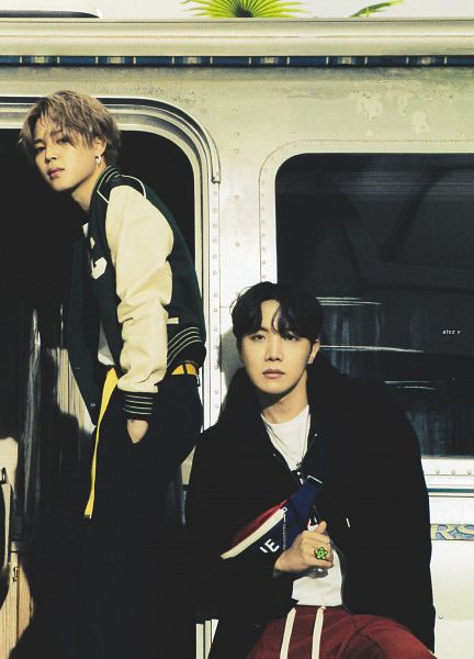 Tags: K-Pop, BTS, Park Jimin, J-Hope, Car, Ring, Serious, Necklace, Duo, Outdoors, Two Males, Green Outerwear