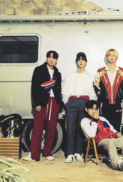 Tags: K-Pop, BTS, V (Kim Taehyung), J-Hope, Jin, Jungkook, Chair, Floral Pants, Quartet, Floral Print, Sitting On Chair, Four Males