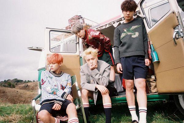 Tags: K-Pop, BTS, Jungkook, V (Kim Taehyung), Suga, Jin, Arm Support, Serious, Grass, Quartet, Black Shorts, Bus