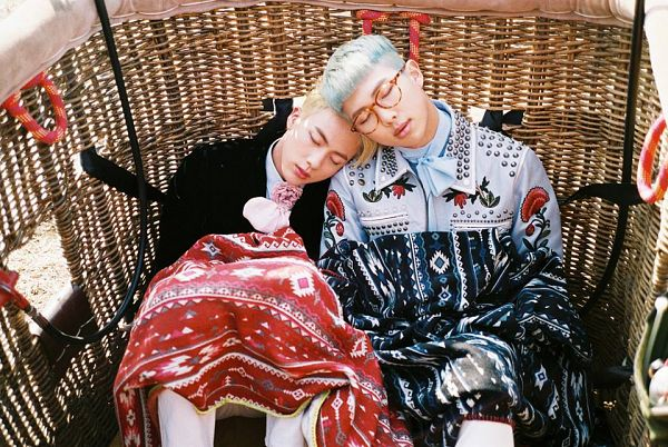 Tags: K-Pop, BTS, Jin, Rap Monster, Head On Shoulder, Two Males, Sleeping, Side By Side, Glasses, Black Jacket, Basket, Eyes Closed