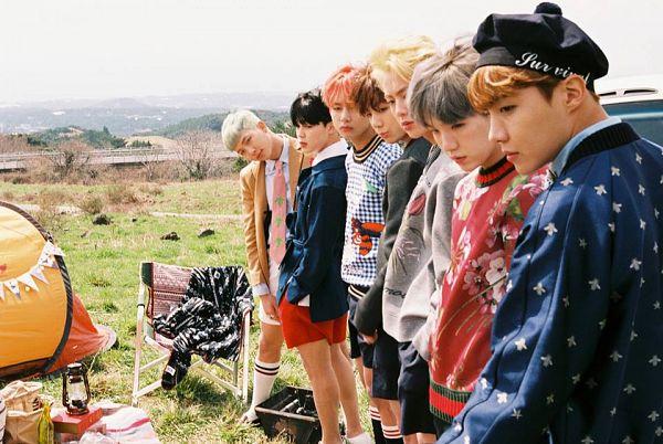 Tags: K-Pop, BTS, Suga, Jungkook, Jin, V (Kim Taehyung), Rap Monster, Park Jimin, J-Hope, Red Shirt, Gray Shirt, Shorts
