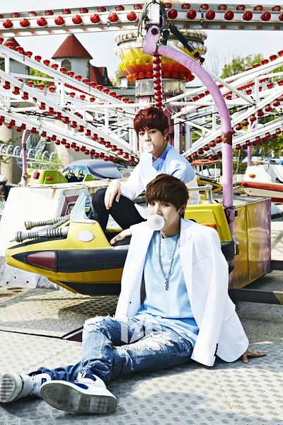 Tags: K-Pop, BTS, Suga, Jin, Crossed Legs, Jeans, Duo, Hand On Knee, Two Males, Red Hair, Amusement Park, Black Pants