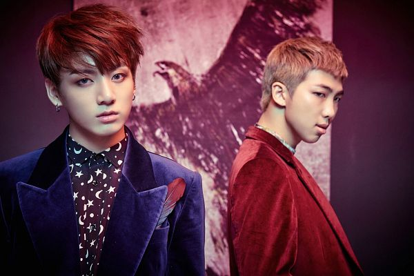 Tags: K-Pop, BTS, Rap Monster, Jungkook, Red Jacket, Blue Jacket, Duo, Blue Outerwear, Two Males, Animal, Red Outerwear, Bird