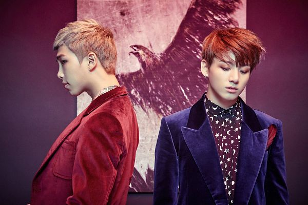 Tags: K-Pop, BTS, Jungkook, Rap Monster, Two Males, Duo, Blue Outerwear, Red Outerwear, Red Jacket, Looking Down, Blue Jacket, Wallpaper