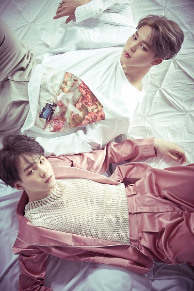 Tags: K-Pop, BTS, Park Jimin, Suga, Pink Outerwear, Two Males, Gray Hair, Laying Down, Pink Pants, Floral Shirt, From Above, Duo