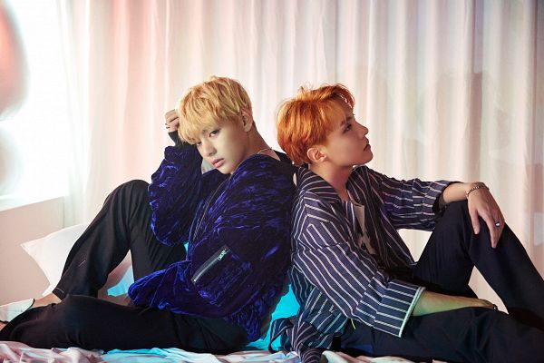 Tags: K-Pop, BTS, V (Kim Taehyung), J-Hope, Hand On Head, Duo, On Bed, Striped Shirt, Two Males, Looking Up, Back To Back, Red Hair