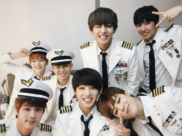 Tags: K-Pop, BTS, Suga, Jungkook, Jin, V (Kim Taehyung), Rap Monster, Park Jimin, J-Hope, Hat, Wink, Tie