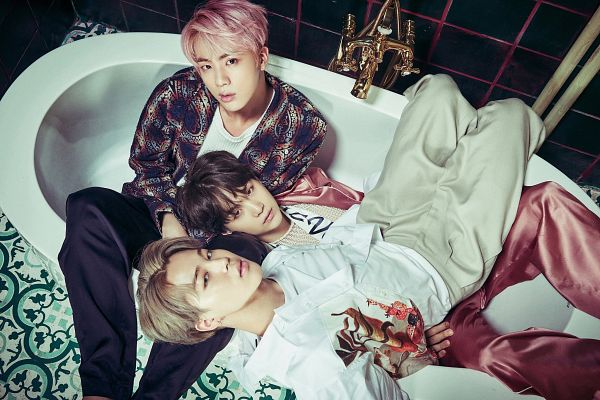 Tags: K-Pop, BTS, Park Jimin, Suga, Jin, Looking Ahead, Blonde Hair, Pink Outfit, Bathroom, Three Males, Laying Down, Holding Close