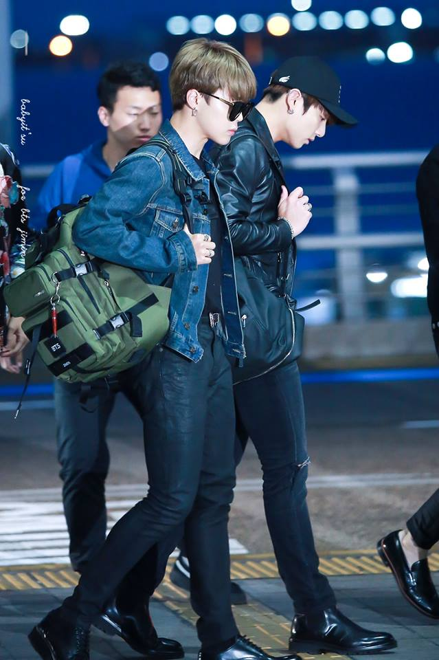 Tags: K-Pop, BTS, Park Jimin, Jungkook, Sunglasses, Black Pants, Airport, Hat, Looking Down, Ring, Blue Jacket, Duo