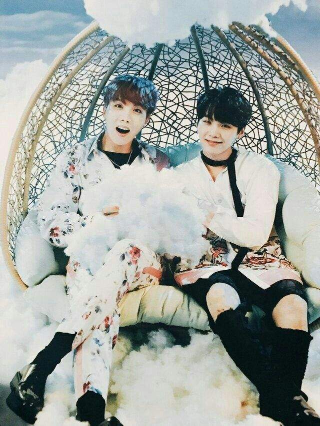 Tags: K-Pop, BTS, J-Hope, Suga, Two Males, Sitting On Chair, Chair, Clouds, Duo, Scan, BTS Live Trilogy Episode III: The Wings Tour