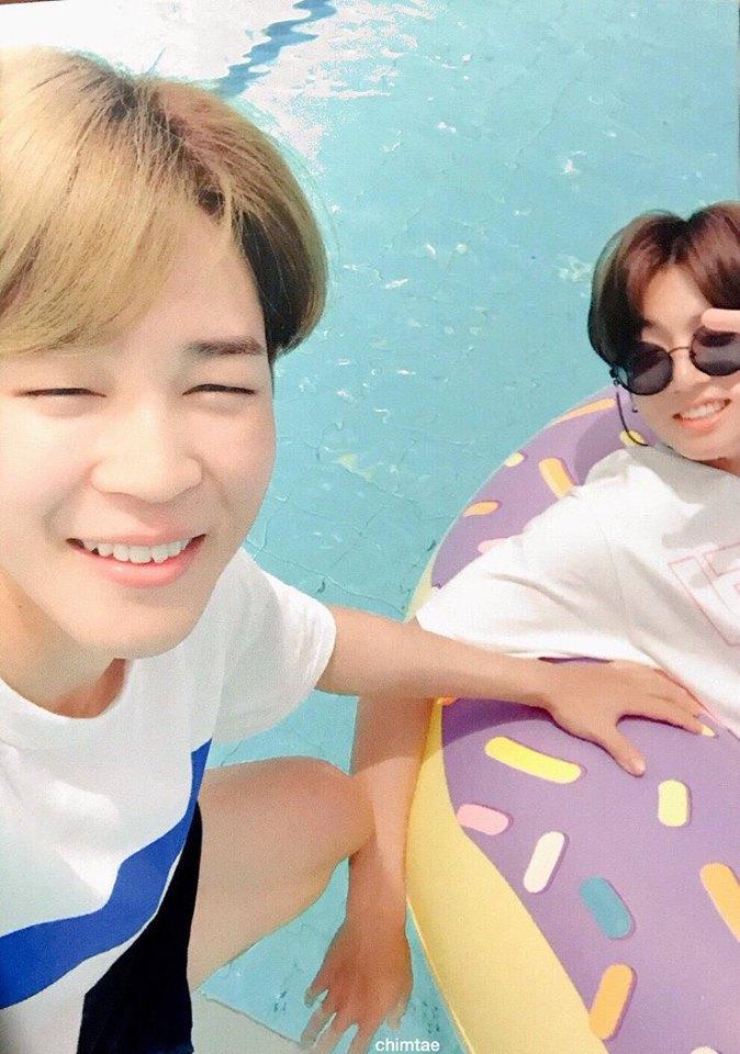 Tags: K-Pop, BTS, Jungkook, Park Jimin, Water, Grin, Glasses, Sunglasses, Swimming Pool, Selca