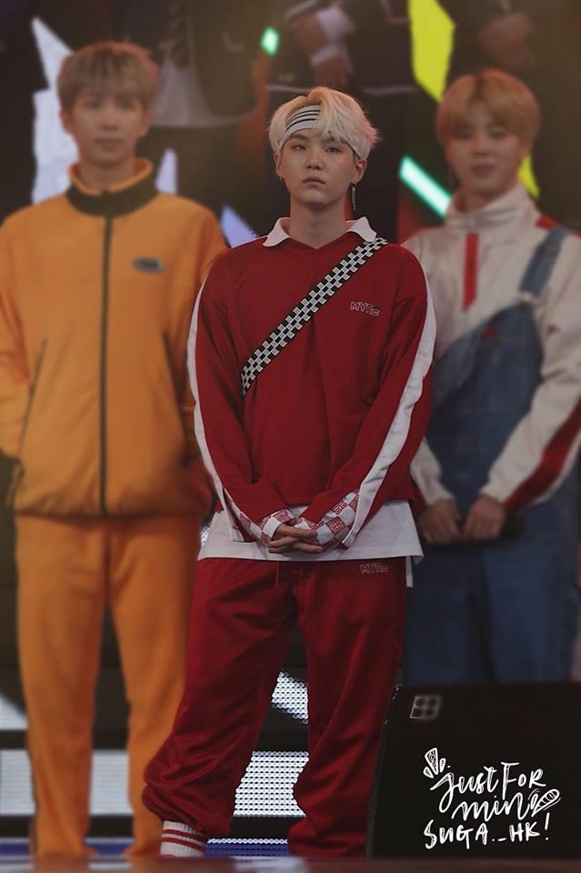 Tags: K-Pop, BTS, Park Jimin, Suga, Rap Monster, Red Shirt, Red Pants, Jumpsuit, Trio, Hairband, White Hair, Three Males