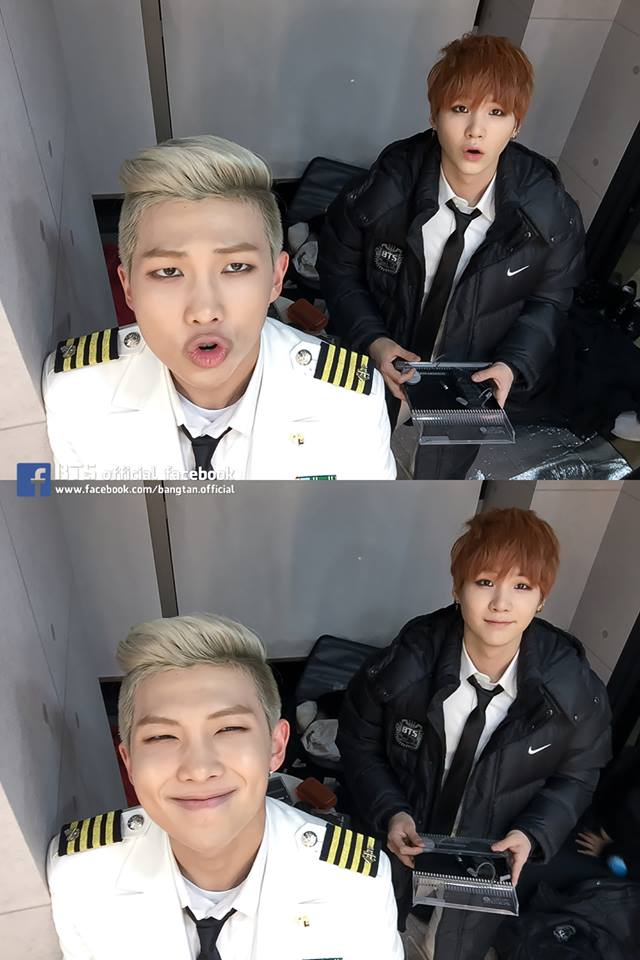 Tags: K-Pop, BTS, Rap Monster, Suga, Epaulettes, White Jacket, Black Jacket, White Outerwear, Duo, Tie, Two Males, Make Up