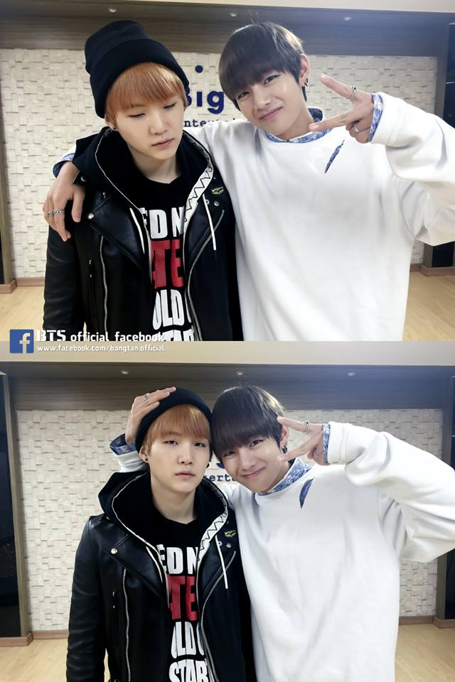 Tags: K-Pop, BTS, V (Kim Taehyung), Suga, Two Males, Black Jacket, Ring, Black Headwear, Duo, V Gesture, Hand On Head, Leather Jacket