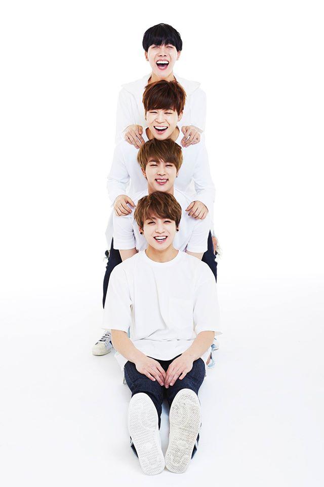 Tags: K-Pop, BTS, Jungkook, Park Jimin, J-Hope, Jin, Eyes Closed, Light Background, White Background, Grin, 2015 BTS Festa