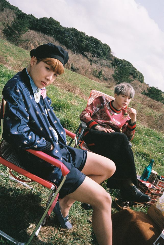 Tags: K-Pop, BTS, Suga, J-Hope, Red Hair, Grass, Duo, Serious, Bottle, Two Males, The Most Beautiful Moment in Life: Young Forever