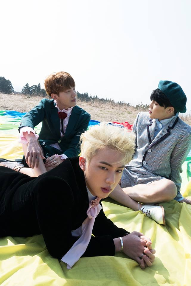 Tags: K-Pop, BTS, J-Hope, Jin, Park Jimin, Green Shorts, Hat, Black Jacket, Serious, Bracelet, Green Outerwear, Trio