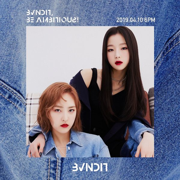 Tags: K-Pop, BVNDIT, Jungwoo, Seungeun, Red Lips, Text: Album Name, Arm Around Shoulder, Medium Hair, Text: Calendar Date, Two Girls, Jeans, Denim Shirt