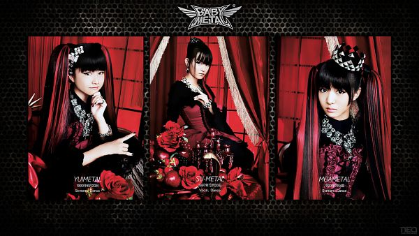 Tags: J-Pop, Babymetal, Su-metal, Yuimetal, Moametal, Matching Outfit, Chin In Hand, Twin Tails, Multi-colored Hair, Text: Artist Name, Red Hair, Three Girls