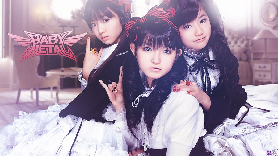 Tags: J-Pop, Babymetal, Yuimetal, Moametal, Su-metal, Make Up, White Dress, Nail Polish, White Outfit, Twin Tails, White Skirt, Text: Artist Name