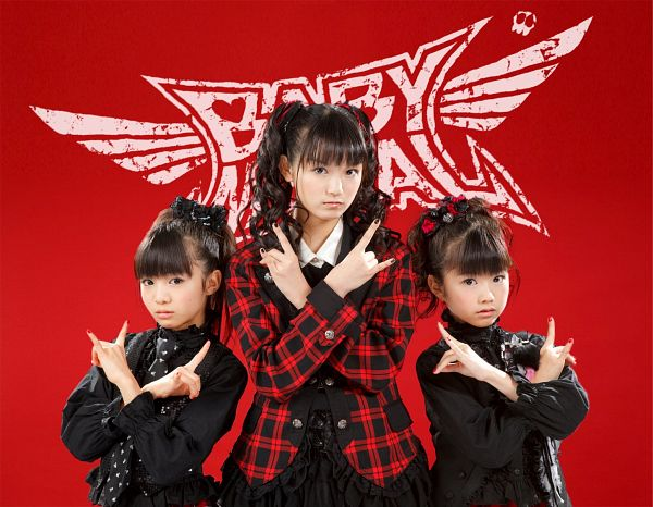 Tags: J-Pop, Babymetal, Moametal, Su-metal, Yuimetal, Matching Outfit, Wavy Hair, Red Background, Text: Artist Name, Twin Tails, Ponytail, Full Group