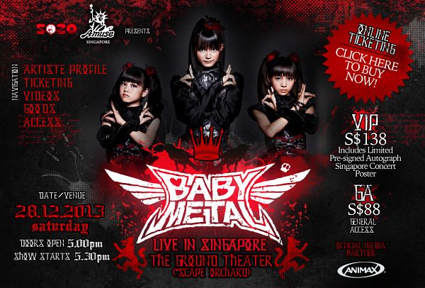 Tags: J-Pop, Babymetal, Su-metal, Yuimetal, Moametal, Ponytail, Short Sleeves, Text: Artist Name, Trio, Black Outfit, Full Group, Sleeveless
