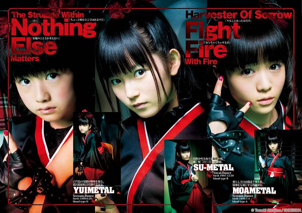 Tags: J-Pop, Babymetal, Yuimetal, Moametal, Su-metal, Twin Tails, Fingerless Gloves, Ponytail, Nail Polish, Traditional Clothes, Trio, Multiple Persona