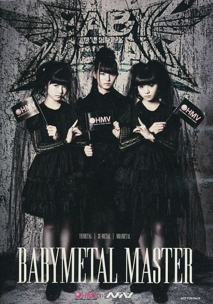 Tags: J-Pop, Babymetal, Su-metal, Yuimetal, Moametal, Flag, Hair Up, Boots, Pantyhose, Text: Artist Name, Trio, Gray Background