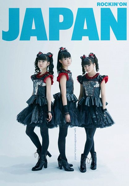 Tags: J-Pop, Babymetal, Yuimetal, Moametal, Su-metal, Black Outfit, Matching Outfit, Black Legwear, English Text, Black Dress, Full Group, Light Background