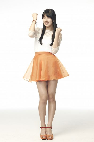 Tags: K-Pop, Miss A, Bae Suzy, Light Background, Black Eyes, White Background, Grin, Shadow, Orange Skirt, Bracelet, Blunt Bangs, Skirt