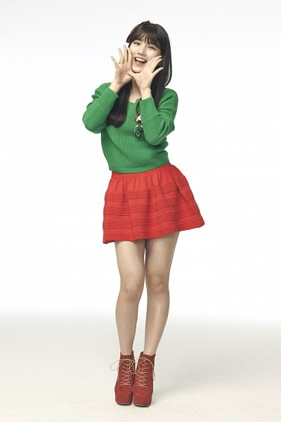 Tags: K-Pop, Miss A, Bae Suzy, Red Footwear, Red Skirt, Green Shirt, Blunt Bangs, Shoes, Skirt, Android/iPhone Wallpaper, Vita 500