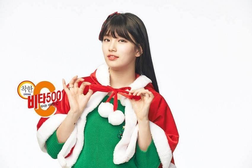 Tags: K-Pop, Miss A, Bae Suzy, Black Eyes, Mole, Green Shirt, Light Background, Capelet, White Background, Facial Mark, Christmas, Vita 500