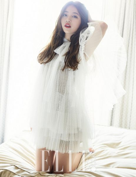 Tags: K-Pop, Miss A, Bae Suzy, Curtain, White Outfit, On Bed, White Dress, Bed, Kneeling, Black Eyes, Veil, Elle Korea