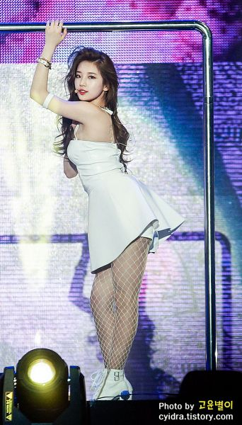 Tags: K-Pop, Miss A, Hush, Bae Suzy, Fishnets, Pole, White Dress, Arms Up, Wavy Hair, Dancing, High Heels, White Footwear
