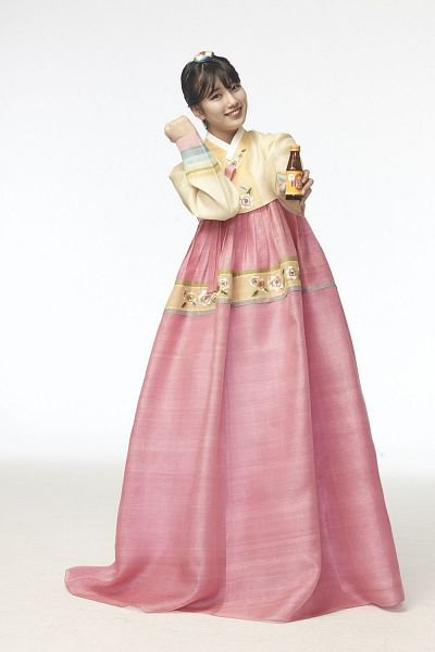 Tags: K-Pop, Miss A, Bae Suzy, Hanbok, Skirt, Yellow Shirt, Pink Skirt, Hair Up, Traditional Clothes, Light Background, Korean Clothes, White Background