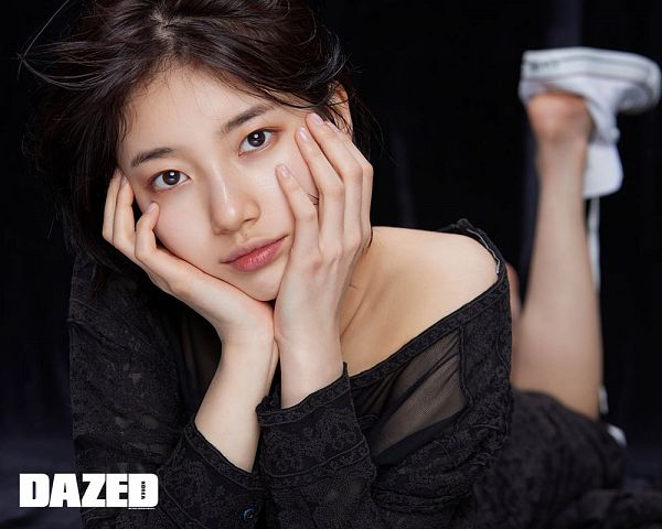 Tags: K-Pop, Miss A, Bae Suzy, Laying Down, Short Hair, Laying On Stomach, White Footwear, Black Background, Hand On Cheek, Hand On Head, Black Eyes, Arm Support