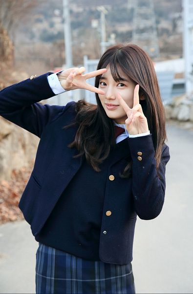 Tags: K-Pop, K-Drama, Miss A, Bae Suzy, Jacket, School Uniform, Black Eyes, V Gesture, Plaided Print, Standing, Uncontrollably Fond