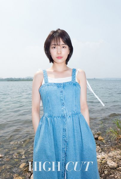 Tags: K-Pop, Miss A, Bae Suzy, Denim Dress, Blue Dress, Standing, Blue Outfit, Sea, Serious, Short Hair, Dress, Water