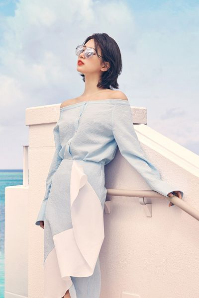 Tags: K-Pop, Miss A, Bae Suzy, Skirt, Red Lips, Glasses, Looking Ahead, Sunglasses, Blue Skirt, Standing, Sky, Blue Shirt
