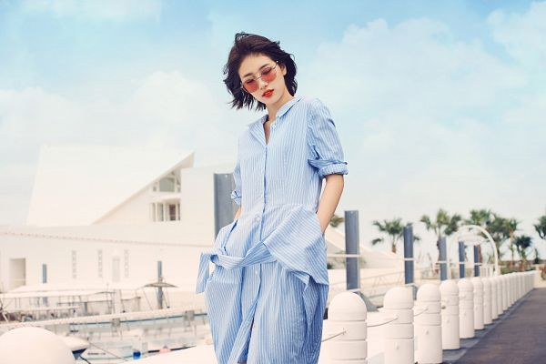 Tags: K-Pop, Miss A, Bae Suzy, Blue Shirt, Boat, Sunglasses, Looking Ahead, Standing, Red Lips, Pants, Blue Pants, Short Hair