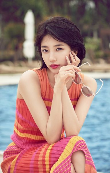 Tags: K-Pop, Miss A, Bae Suzy, Swimming Pool, Short Hair, Red Lips, Bent Knees, Water, Dress, Sitting, Orange Outfit, Arm Support
