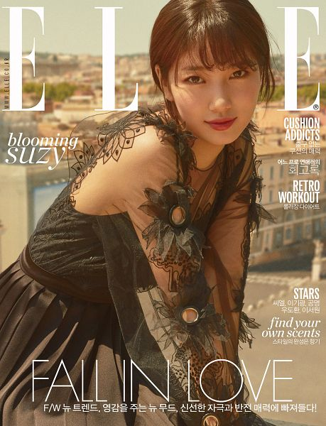 Tags: K-Pop, Miss A, Bae Suzy, See Through Clothes, Closed Mouth, Korean Text, Green Outfit, English Text, Green Dress, Red Lips, Magazine Cover, Scan
