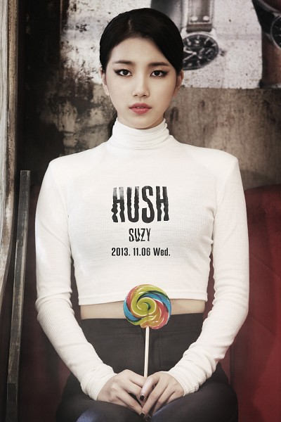 Tags: K-Pop, Miss A, Hush, Bae Suzy, Hair Up, Nail Polish, Text: Calendar Date, Text: Song Title, Collar (Clothes), Midriff, Text: Artist Name, Ponytail