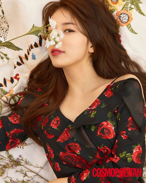 Tags: K-Pop, Miss A, Bae Suzy, Floral Dress, Laying On Back, Black Outfit, Floral Print, White Flower, Black Dress, Covering Eyes, Laying Down, Flower