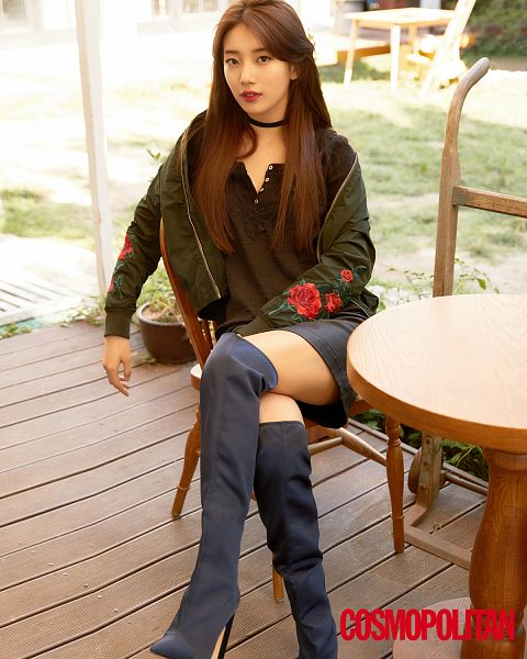 Tags: K-Pop, Miss A, Bae Suzy, Thigh Boots, Zettai Ryouiki, Sitting On Chair, Red Lips, Thigh Highs, Chair, Choker, Green Outerwear, Table