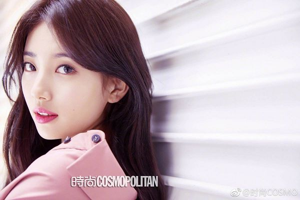 Tags: K-Pop, Miss A, Bae Suzy, Pink Shirt, Leaning On Wall, Gray Eyes, Contact Lenses, Close Up, Wall, Cosmopolitan China, Magazine Scan