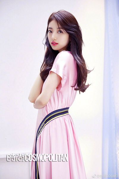 Tags: K-Pop, Miss A, Bae Suzy, Pink Outfit, Crossed Arms, Wavy Hair, Gray Eyes, Pink Dress, Contact Lenses, Short Sleeves, Cosmopolitan China, Magazine Scan