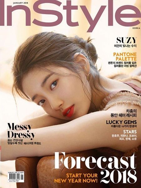 Tags: K-Pop, Miss A, Bae Suzy, Black Eyes, Red Lips, Hair Buns, Serious, Hair Up, Single Bun, Korean Text, Magazine Scan, InStyle